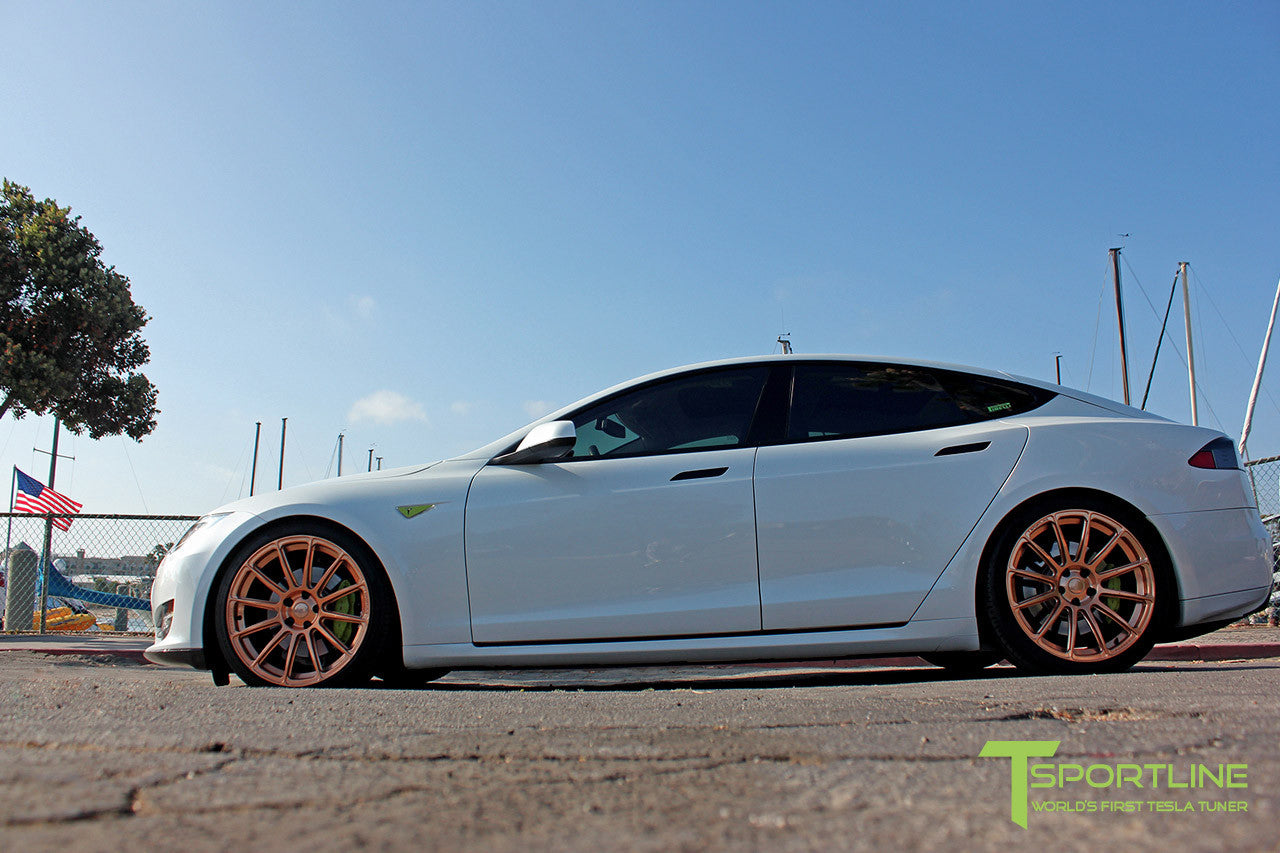 White Tesla Model S 1.0 with Uberose 21 inch TS112 Forged Wheels 1