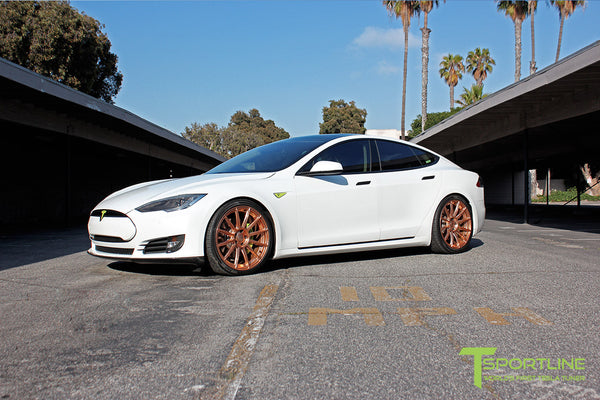 White Tesla Model S 1.0 with Uberose 21 inch TS112 Forged Wheels 2