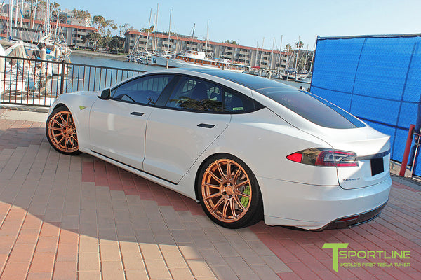 White Tesla Model S 1.0 with Uberose 21 inch TS112 Forged Wheels 3