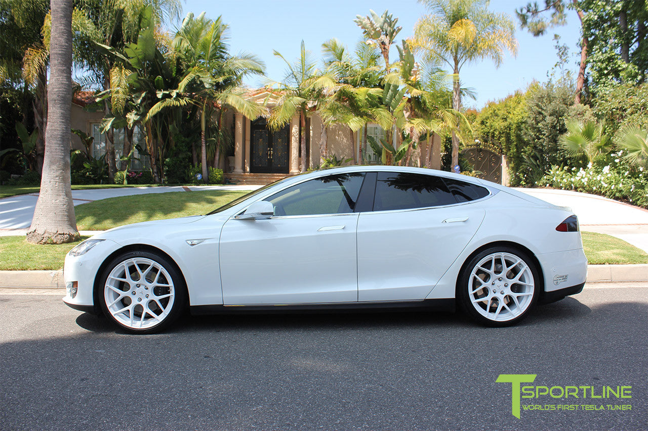 White Tesla Model S 1.0 with Bright White 21 inch TS117 Forged Wheels 1