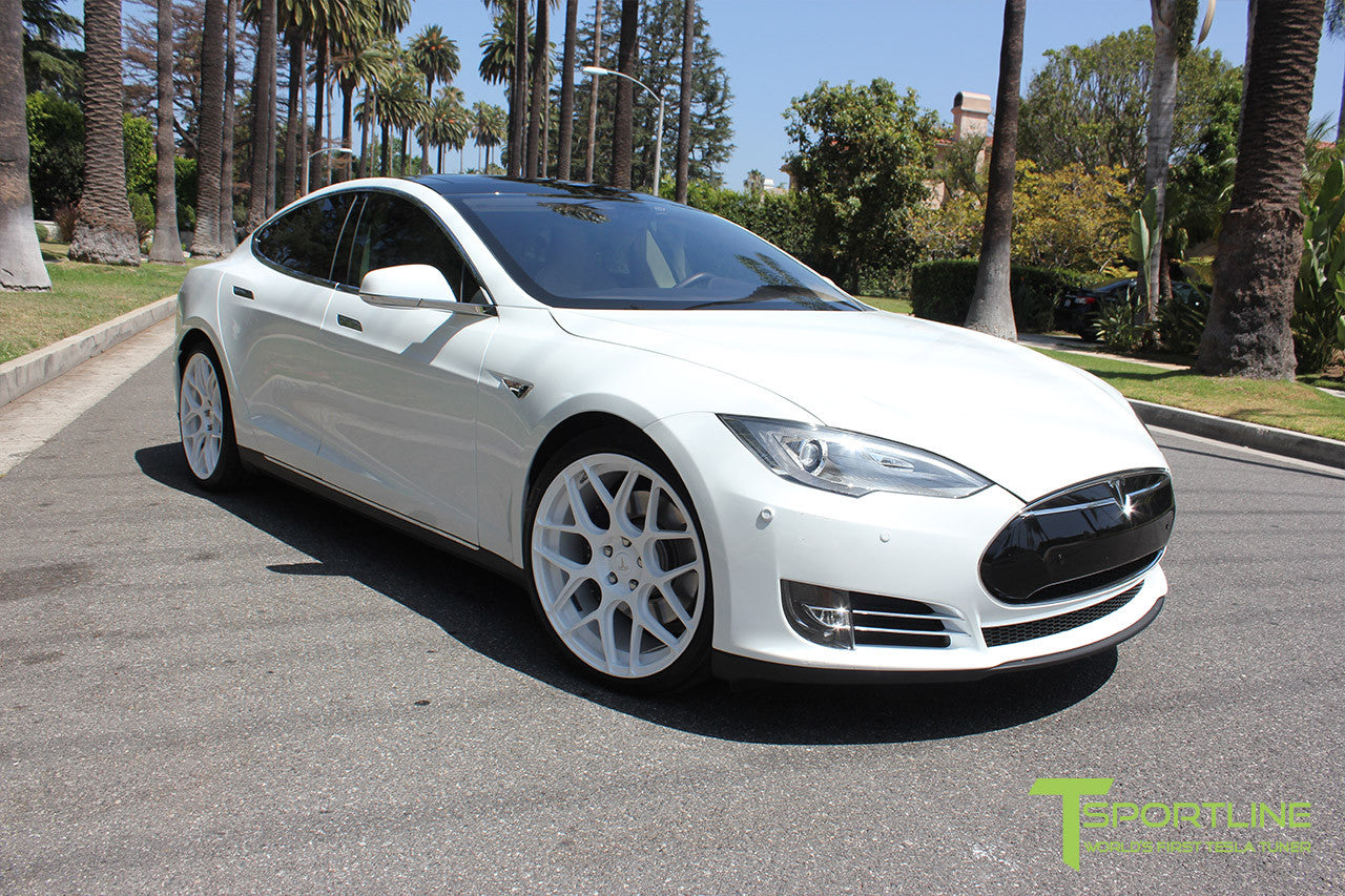 White Tesla Model S 1.0 with Bright White 21 inch TS117 Forged Wheels 2