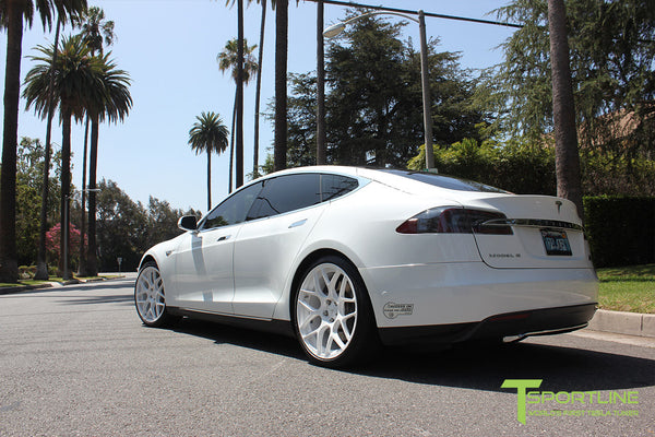White Tesla Model S 1.0 with Bright White 21 inch TS117 Forged Wheels 3