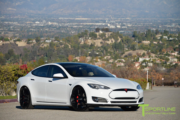 White Tesla Model S 1.0 with Gloss Black 21 inch TS117 Forged Wheels 1