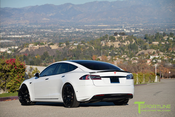 White Tesla Model S 1.0 with Gloss Black 21 inch TS117 Forged Wheels 2