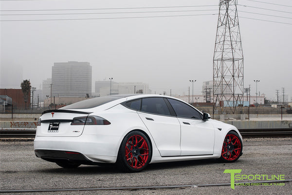 White Tesla Model S 1.0 with Imperial Red 21 inch TS117 Forged Wheels 2