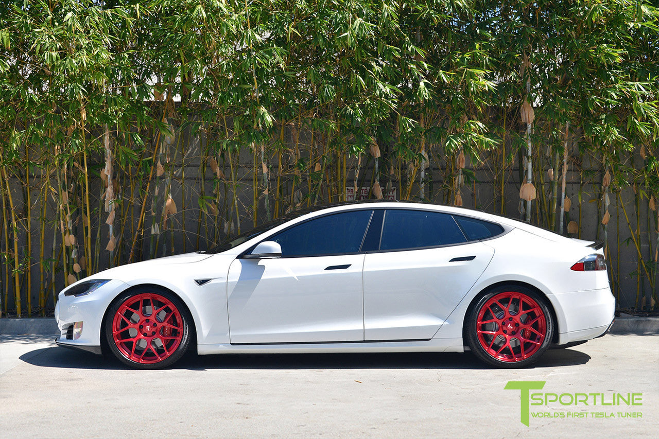 White Tesla Model S 1.0 with Velocity Red 21 inch TS117 Forged Wheels 1