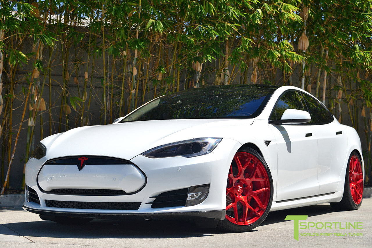 White Tesla Model S 1.0 with Velocity Red 21 inch TS117 Forged Wheels 2