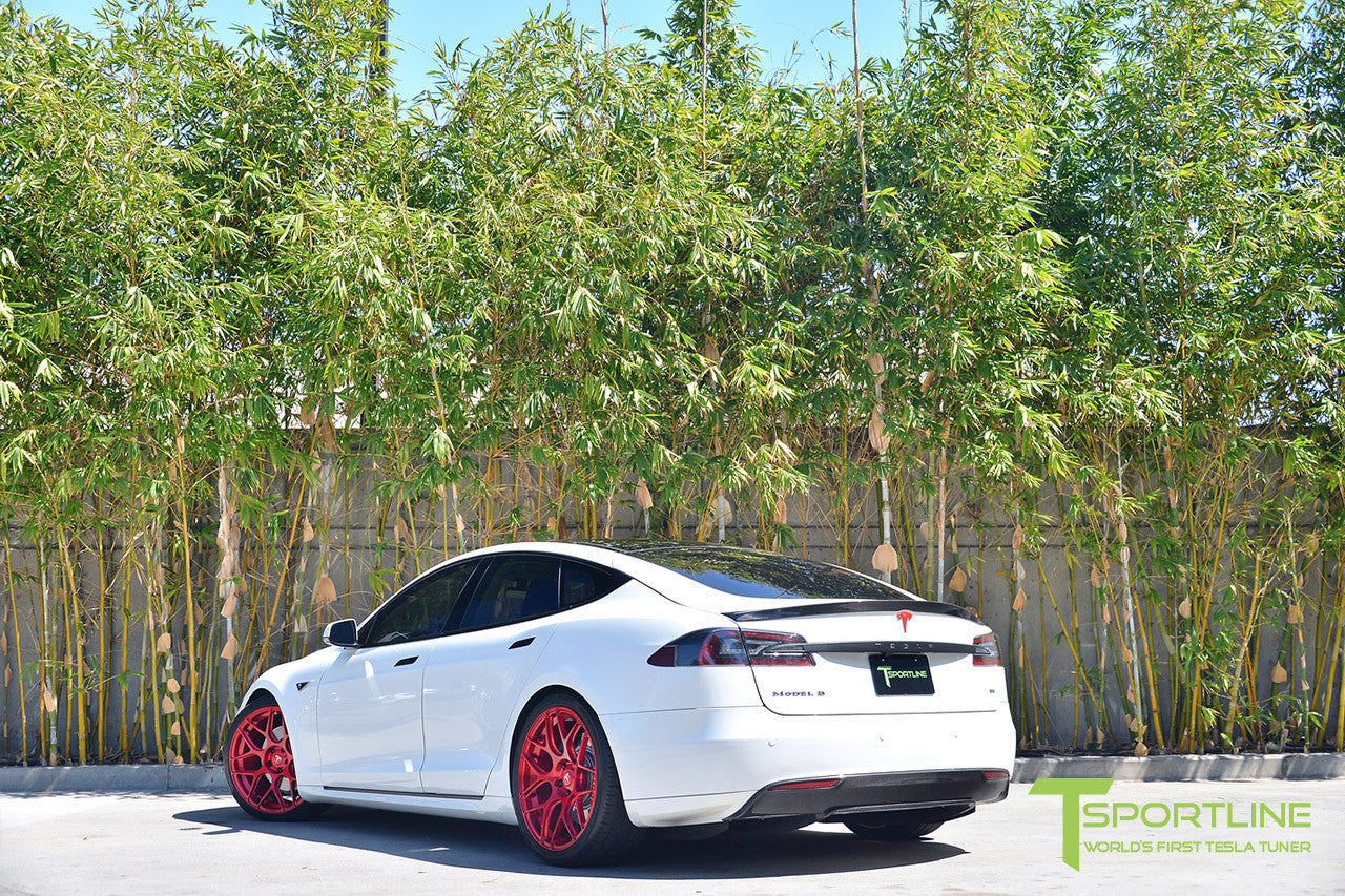 White Tesla Model S 1.0 with Velocity Red 21 inch TS117 Forged Wheels 3
