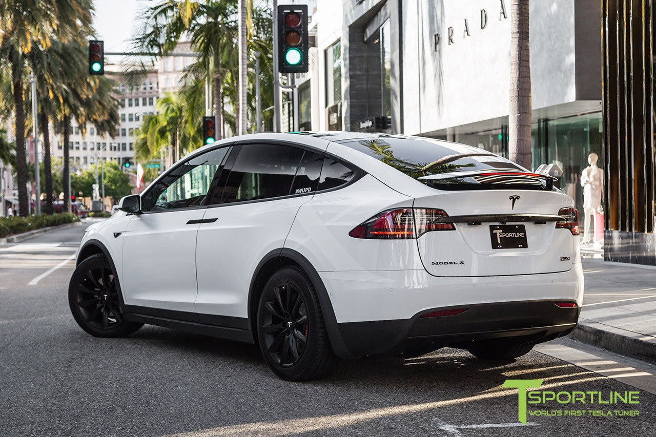 "White Model X with 20"" TST Tesla Wheel in Matte Black"