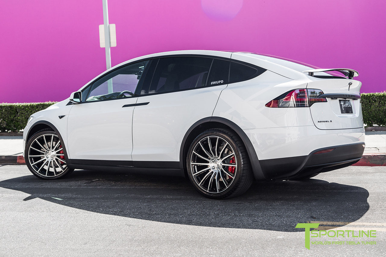 Pearl White Tesla Model X with Diamond Black 22 inch MX114 Forged Wheels