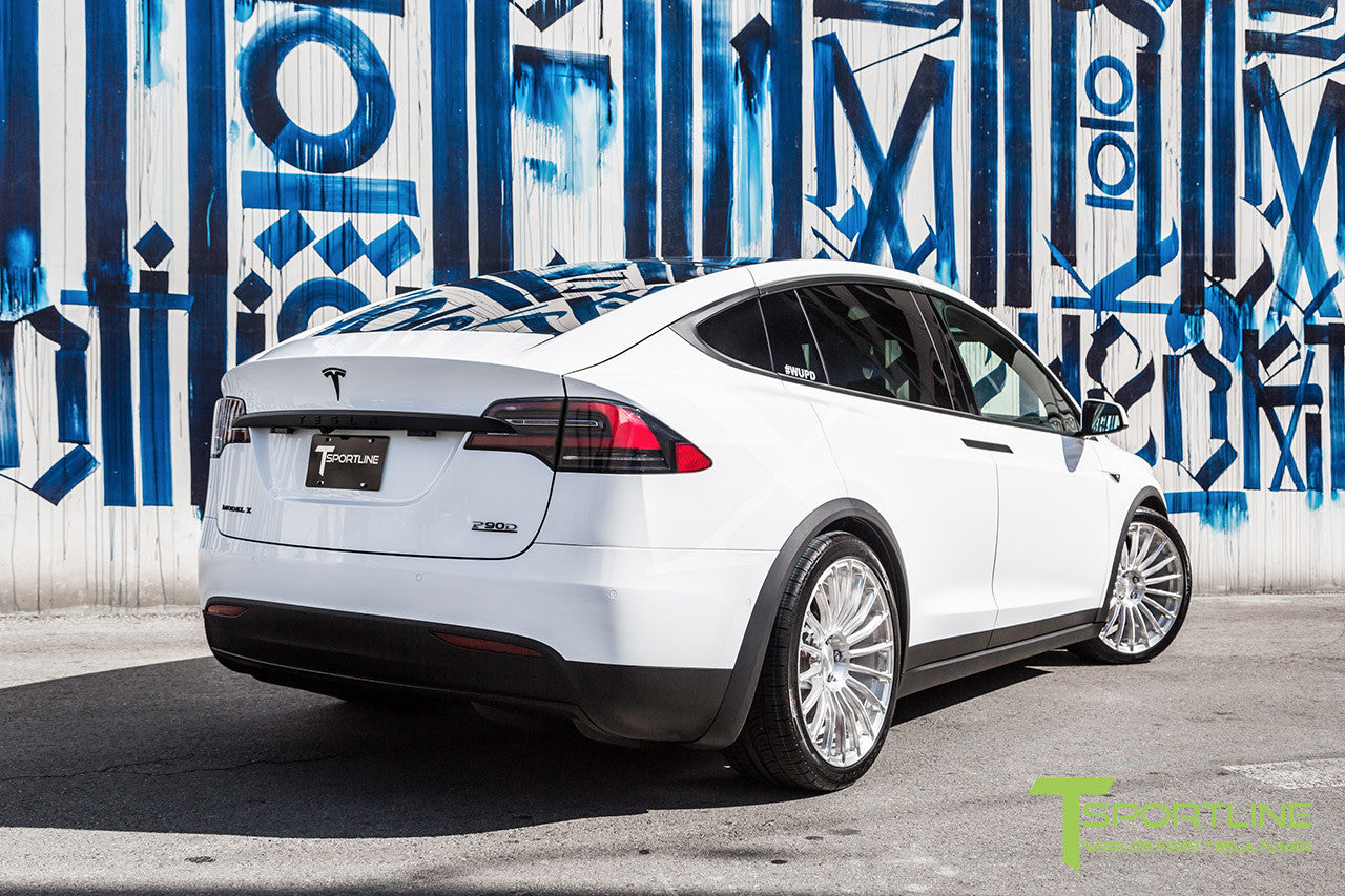 Pearl White Tesla Model X with Brush Satin 22 inch MX118 Forged Wheels