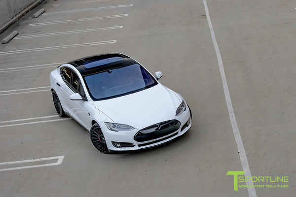 White Tesla Model S 1.0 with Matte Black 21 inch TS118 Forged Wheels 2