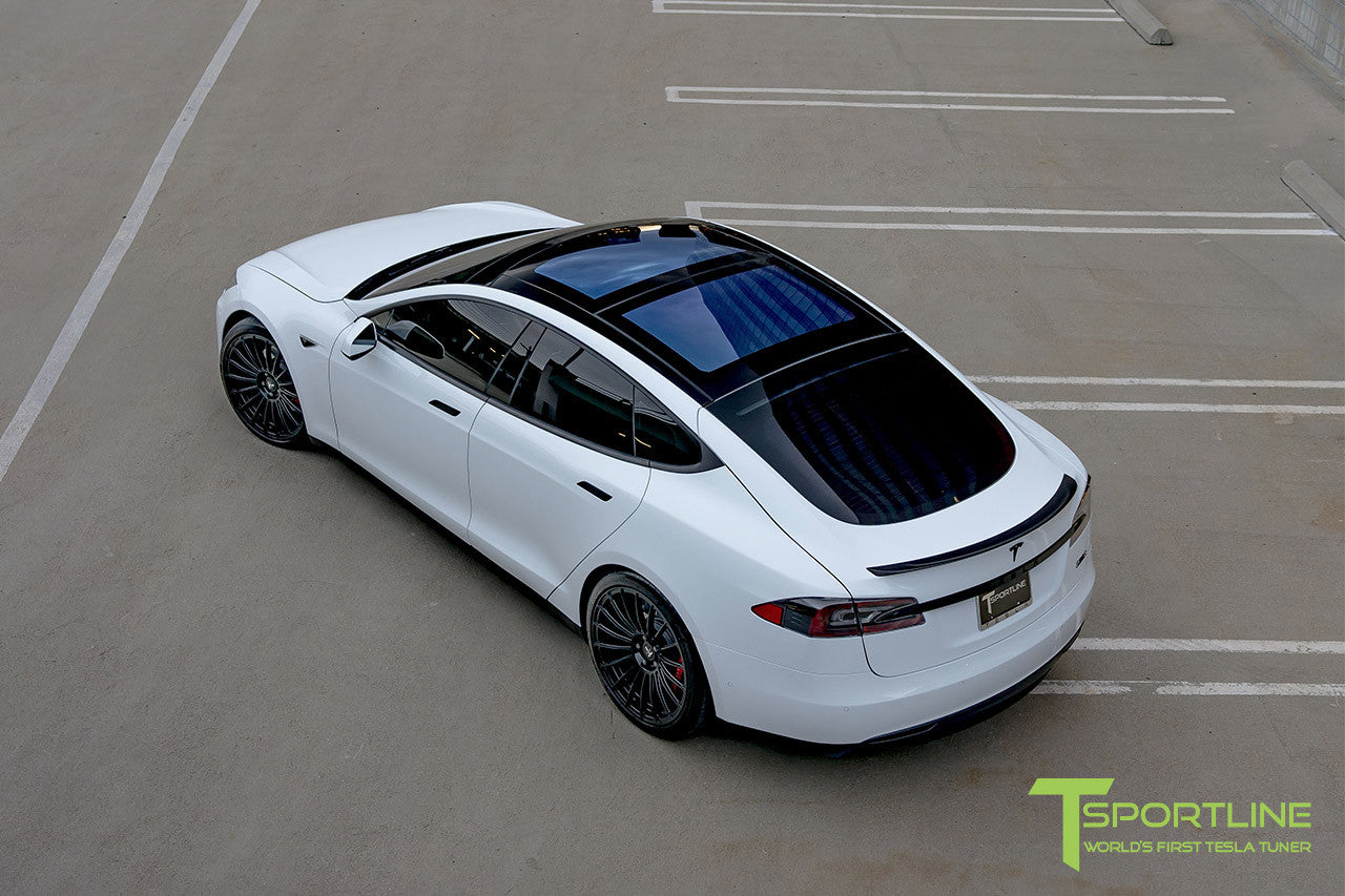 White Tesla Model S 1.0 with Matte Black 21 inch TS118 Forged Wheels 3
