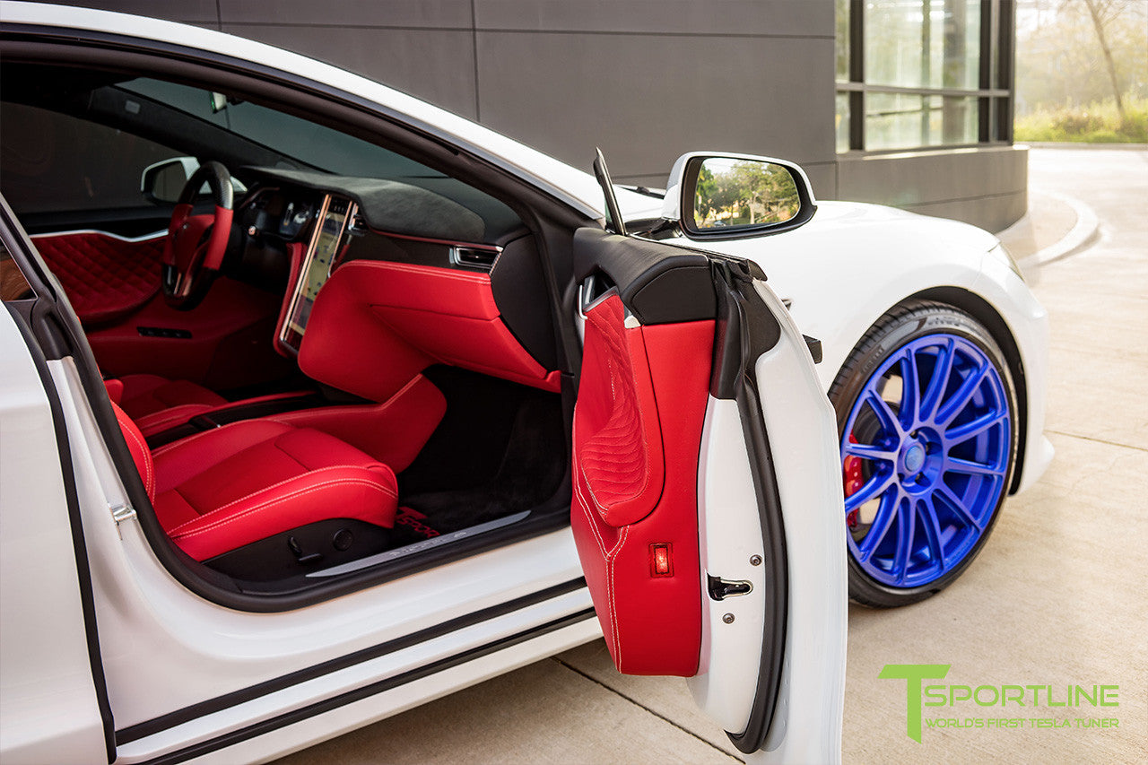 Project SuperAmerica - 2016 Tesla Model S P100D Ludicrous - Custom Bentley Red Interior 19