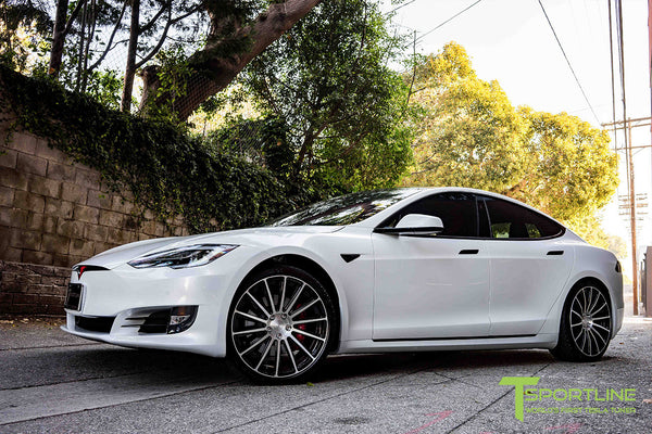 White Tesla Model S 2.0 with Diamond Black 21 inch TS114 Forged Wheels 1