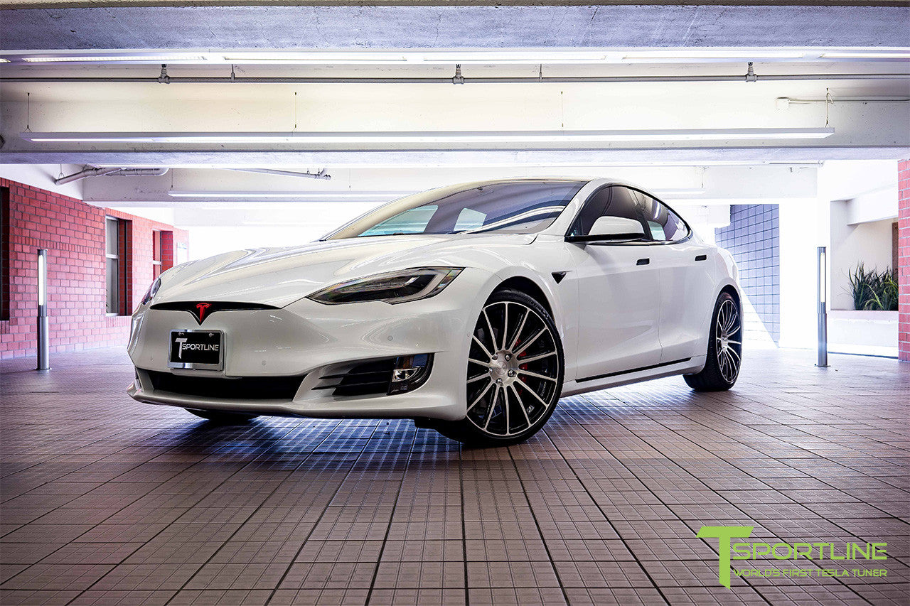 Project SuperAmerica - 2016 Tesla Model S P100D Ludicrous - Custom Bentley Red Interior - 21 inch TS114 Forged Wheels Diamond Black 3