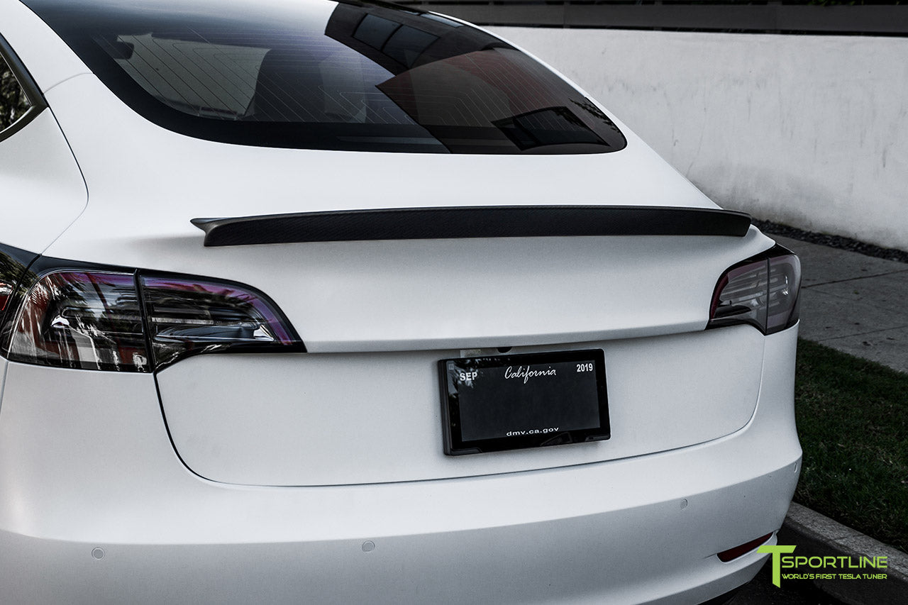 Xpel Stealth Paint Protection Film Pearl White Tesla Model 3 with Matte Carbon Fiber Trunk Wing by T Sportline 2