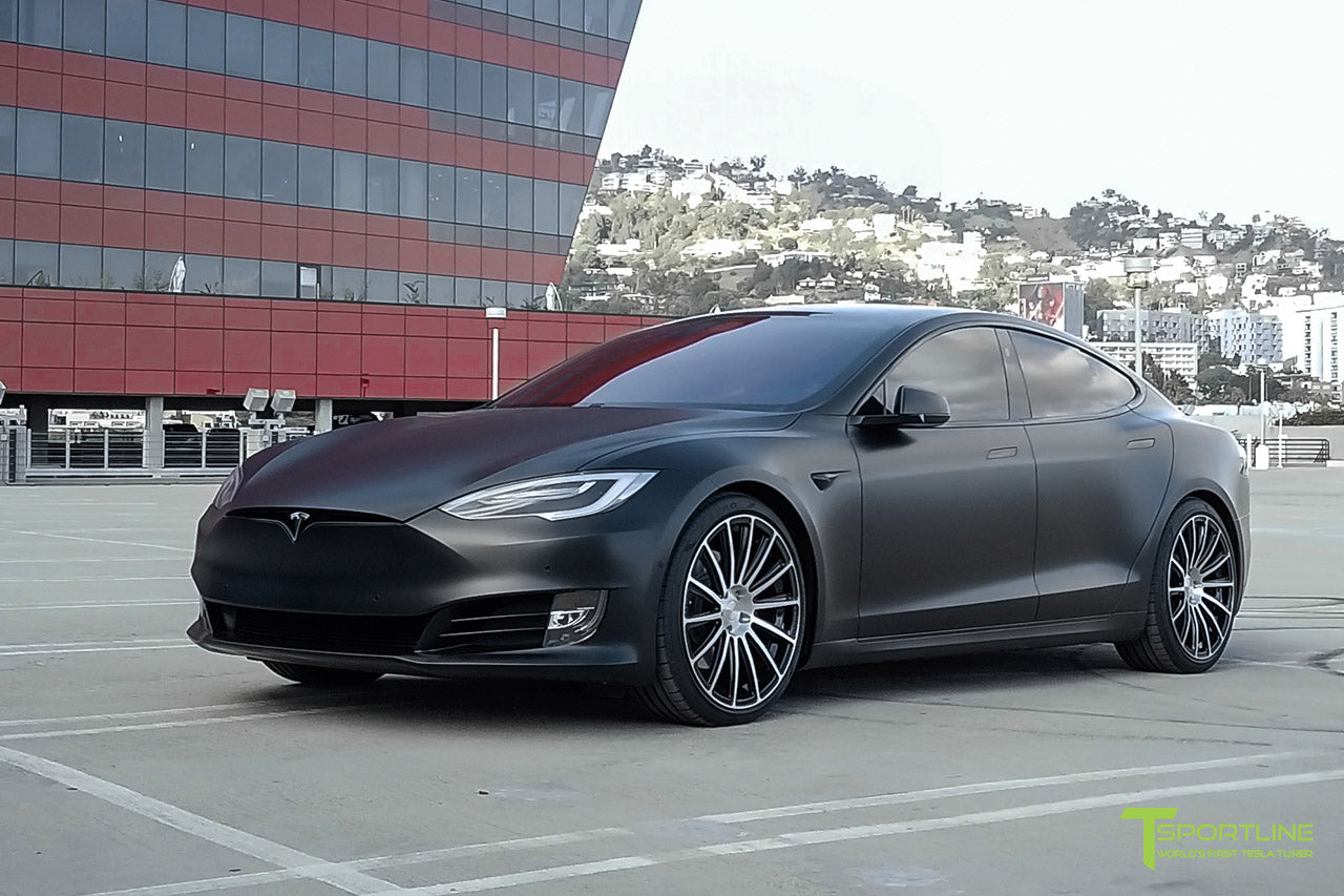 Xpel Stealth Black Model S 2016 Facelift with Diamond Black 21 inch TS114 Forged Wheels by T Sportline 4