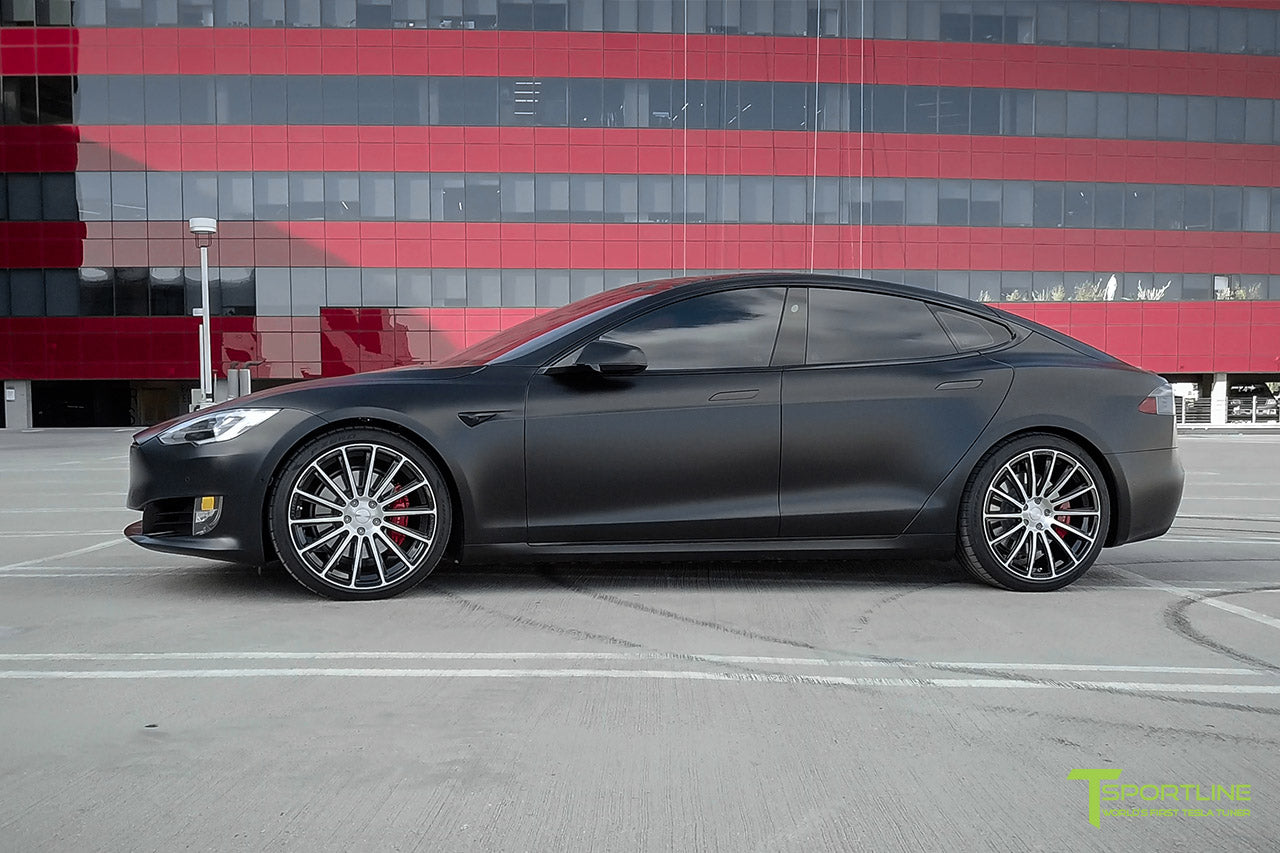 Xpel Stealth Black Model S 2016 Facelift with Diamond Black 21 inch TS114 Forged Wheels by T Sportline 3