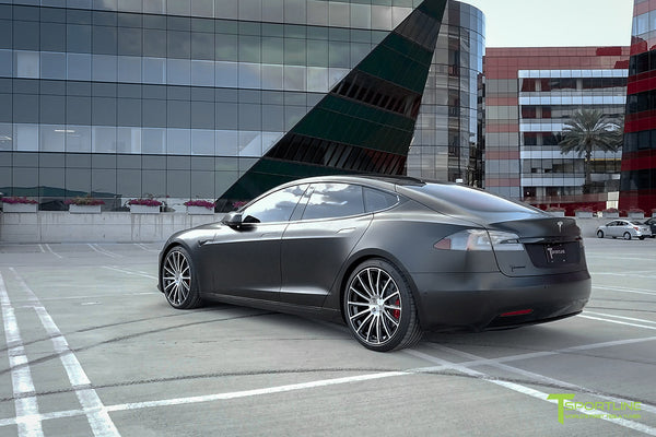 Xpel Stealth Black Model S 2016 Facelift with Diamond Black 21 inch TS114 Forged Wheels by T Sportline 2