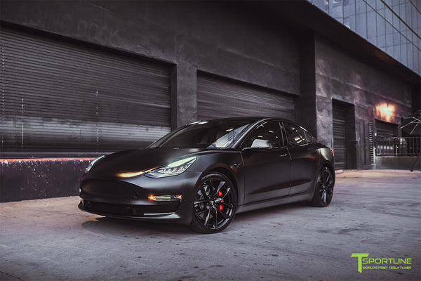 Xpel Stealth Black Tesla Model 3 Performance with Matte Black 20 inch TSS Flow Forged Tesla Aftermarket Wheels, Satin Black Chrome Delete, and Carbon Fiber Executive Trunk Wing Lip Spoiler by T Sportline 9