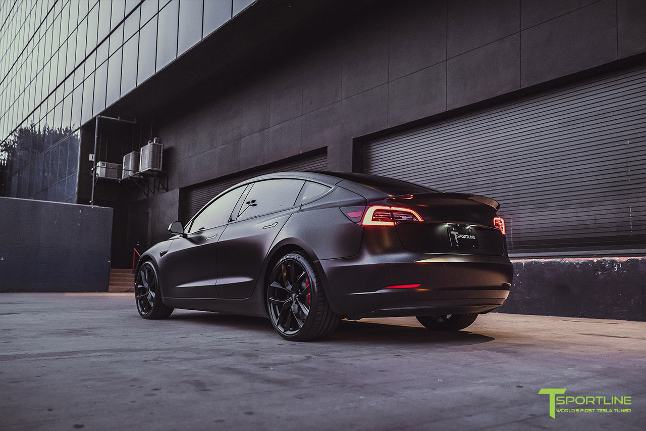 Xpel Stealth Black Tesla Model 3 Performance with Matte Black 20 inch TSS Flow Forged Tesla Aftermarket Wheels, Satin Black Chrome Delete, and Carbon Fiber Executive Trunk Wing Lip Spoiler by T Sportline 7