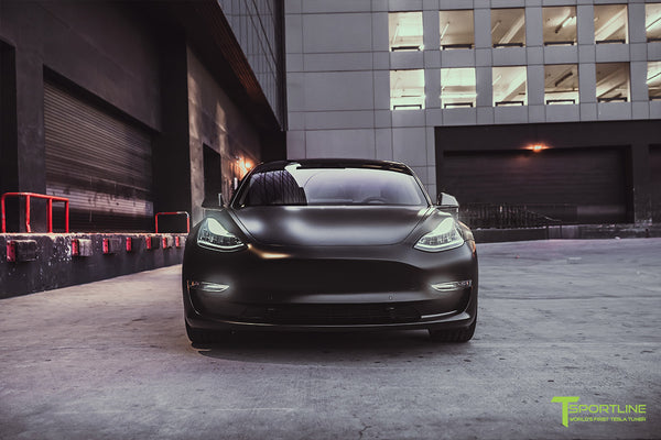 Xpel Stealth Black Tesla Model 3 Performance with Matte Black 20 inch TSS Flow Forged Tesla Aftermarket Wheels, Satin Black Chrome Delete, and Carbon Fiber Executive Trunk Wing Lip Spoiler by T Sportline 6
