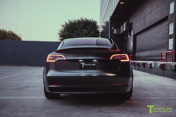 Xpel Stealth Black Tesla Model 3 Performance with Matte Black 20 inch TSS Flow Forged Tesla Aftermarket Wheels, Satin Black Chrome Delete, and Carbon Fiber Executive Trunk Wing Lip Spoiler by T Sportline 5
