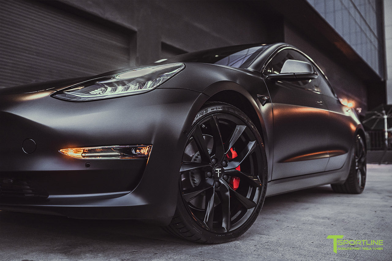 Xpel Stealth Black Tesla Model 3 Performance with Matte Black 20 inch TSS Flow Forged Tesla Aftermarket Wheels, Satin Black Chrome Delete, and Carbon Fiber Executive Trunk Wing Lip Spoiler by T Sportline 4