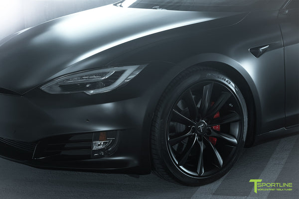 Xpel Stealth Black Model S 2016 Facelift with Matte Black 20 inch TST Turbine Wheels by T Sportline 1