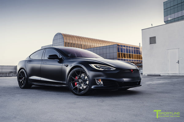 Project Bellevue - Xpel Stealth Black Tesla Model S Performance with Matte Black 21 inch TS115 Forged Tesla Aftermarket Wheels, Satin Black Chrome Delete, and Custom Reupholstered Interior in Ferrari Black Leather by T Sportline 27