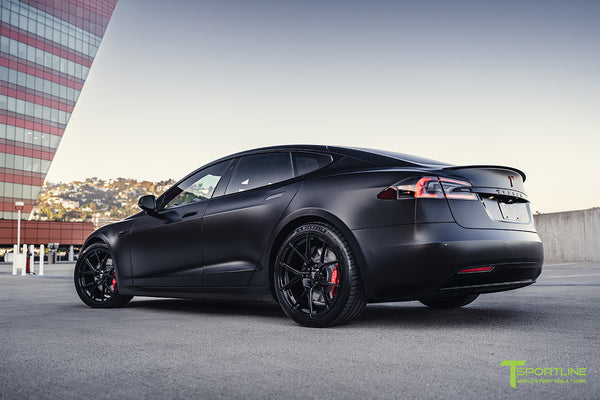 Project Bellevue - Xpel Stealth Black Tesla Model S Performance with Matte Black 21 inch TS115 Forged Tesla Aftermarket Wheels, Satin Black Chrome Delete, and Custom Reupholstered Interior in Ferrari Black Leather by T Sportline 25