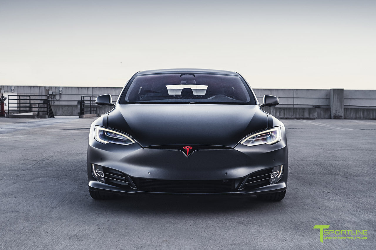 Project Bellevue - Xpel Stealth Black Tesla Model S Performance with Matte Black 21 inch TS115 Forged Tesla Aftermarket Wheels, Satin Black Chrome Delete, and Custom Reupholstered Interior in Ferrari Black Leather by T Sportline 24