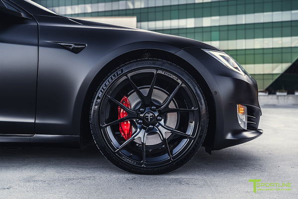 Project Bellevue - Xpel Stealth Black Tesla Model S Performance with Matte Black 21 inch TS115 Forged Tesla Aftermarket Wheels, Satin Black Chrome Delete, and Custom Reupholstered Interior in Ferrari Black Leather by T Sportline 22