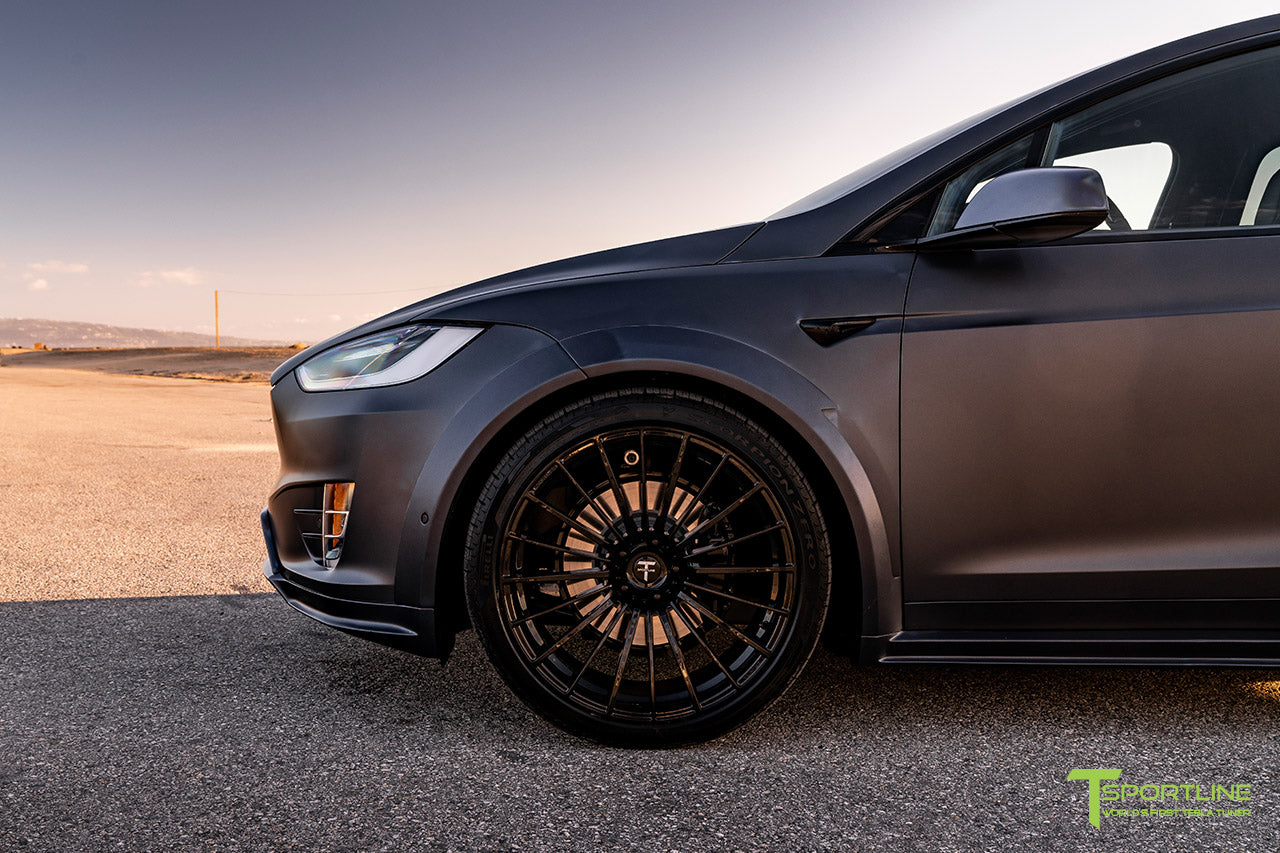 Xpel Stealth Midnight Silver Metallic Tesla Model X with T Largo Carbon Fiber Wide Body Kit/Package, Gloss Black TS120 22 inch Forged Wheels & Chrome Delete by T Sportline 4