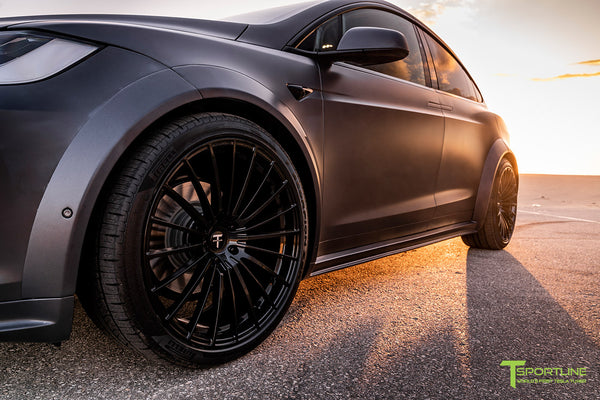 Xpel Stealth Midnight Silver Metallic Tesla Model X with T Largo Carbon Fiber Wide Body Kit/Package, Gloss Black TS120 22 inch Forged Wheels & Chrome Delete by T Sportline 3