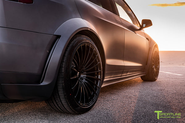 Xpel Stealth Midnight Silver Metallic Tesla Model X with T Largo Carbon Fiber Wide Body Kit/Package, Gloss Black TS120 22 inch Forged Wheels & Chrome Delete by T Sportline 2