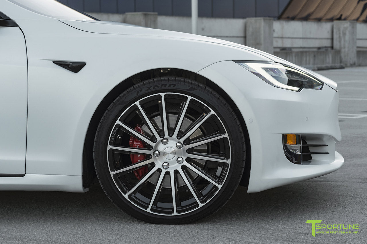 "Xpel Stealth Pearl White Tesla Model S with Diamond Black TS114 21"" Forged Wheels by T Sportline"
