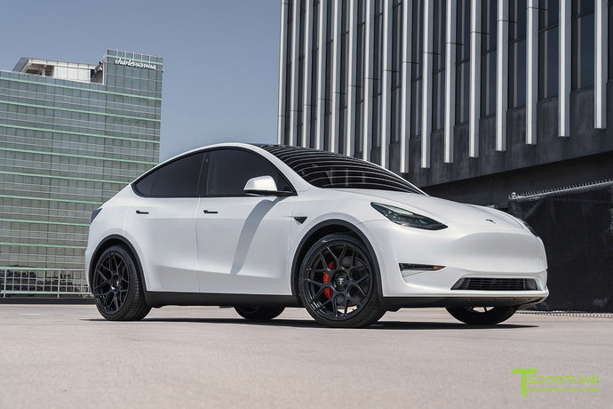 "Xpel Stealth Pearl White Tesla Model Y with 21"" TY117 Forged Wheels"