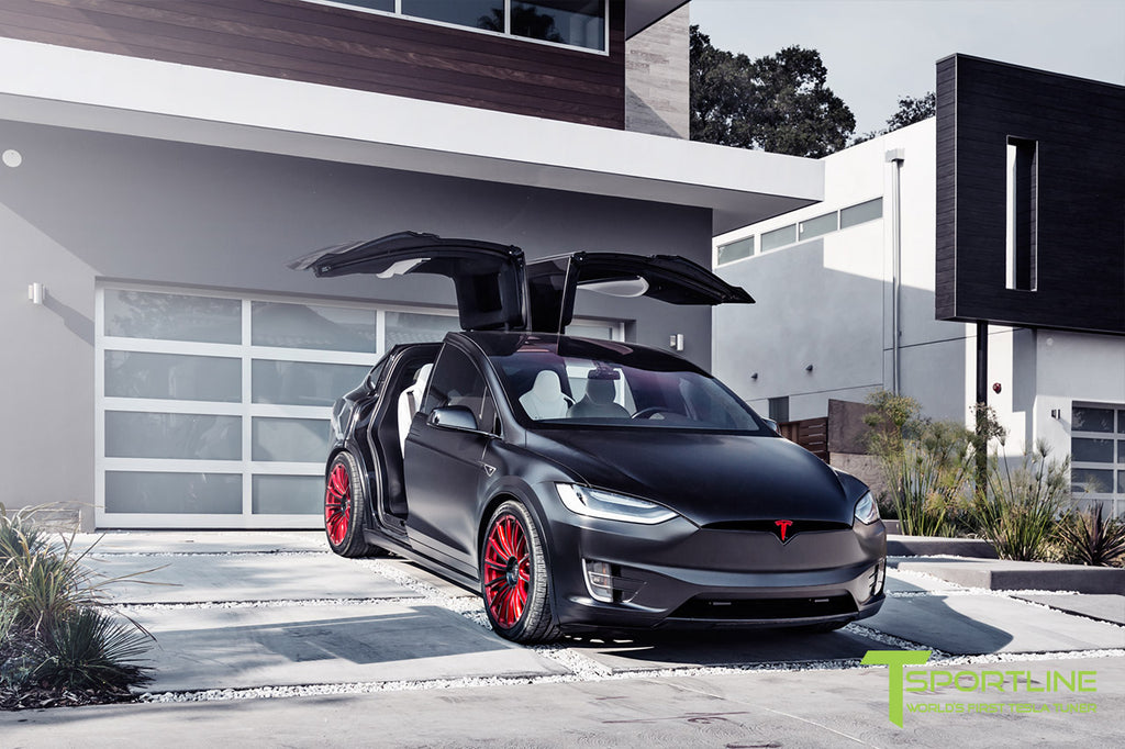 Satin Black Model X with 22 inch Imperial Red Wheels