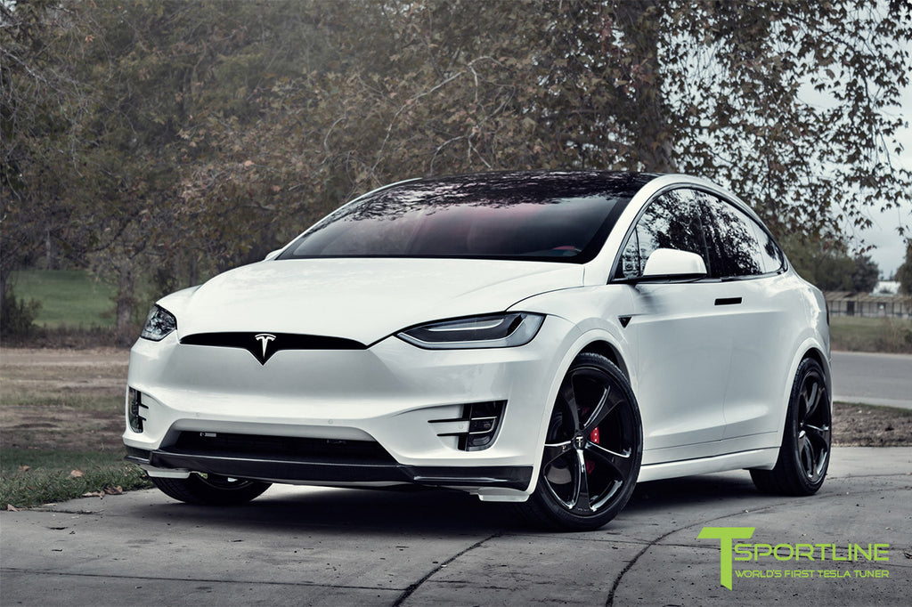 Pearl White Tesla Model X with Carbon Fiber Apron and MX5 22 Inch Forged Wheels
