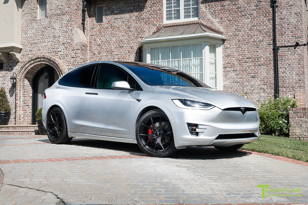 Silver Model X with 3M Satin Black Chrome Delete