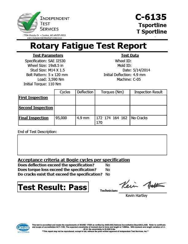 T Sportline Model TST 19×85 SAE J2530 Test Results