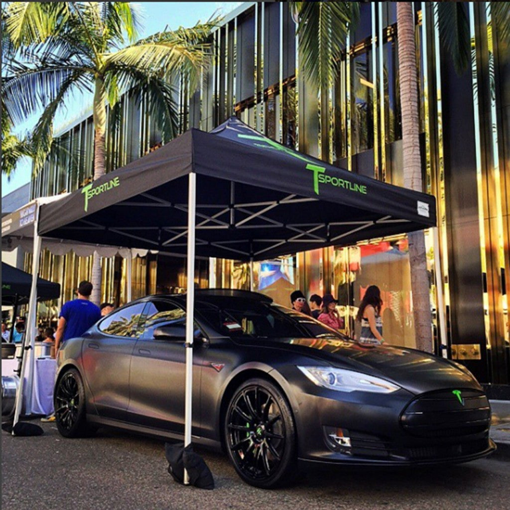 Satin Black Tesla Model S with TS112 Gloss Black Forged Wheels 21 Inch at Rodeo Drive Concours d'Elegance