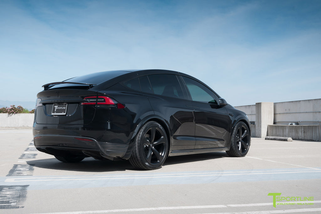 Black Model X with Painted Plastic Panels, Carbon Fiber Upgrades, and Forged Wheels