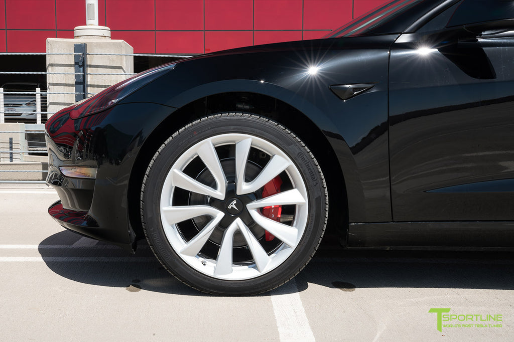 "Model 3 with Custom Red Brake Calipers on 19"" Sport 'Stiletto' Wheel"