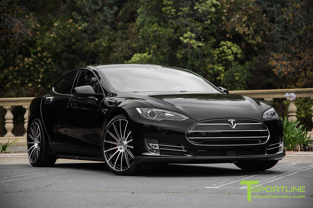 Black Tesla Model S P90D with TS114 21 Inch Forged Wheels in Diamond Black