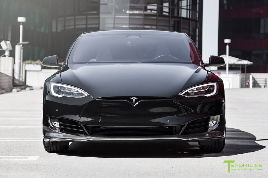 Customized Tesla Model S with Carbon Fiber Front Apron