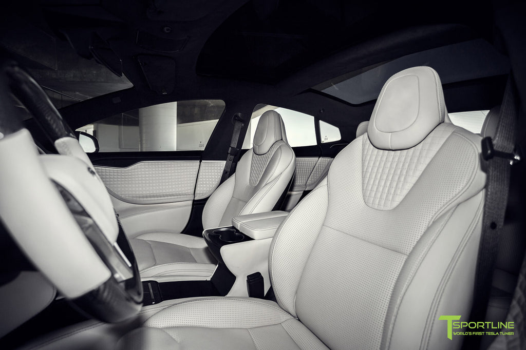 Tesla Model S custom Interior Accessories and Upgrades in Gloss Carbon Fiber and Bentley Linen Leather