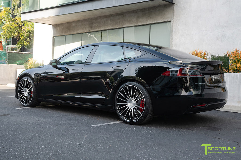 Black Tesla Model S P100D Performance with 21 inch TS118 Forged Tesla Wheels